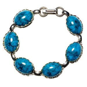 Vintage 70s Faux Turquoise Cabochon Bracelet
